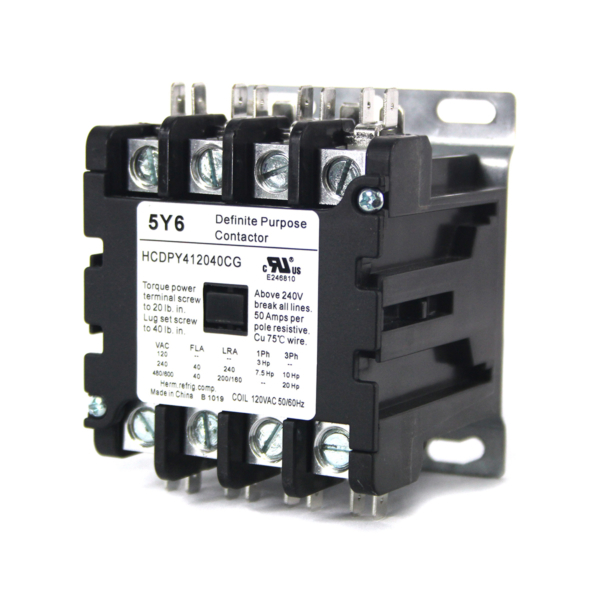 5y6 Contactor Definite Purpose 4 Pole Normally Open 40Amp. 240VAC Coil Rated 600V